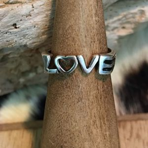 Jewelry - Sterling Silver Love toe/midi ring adjustable
